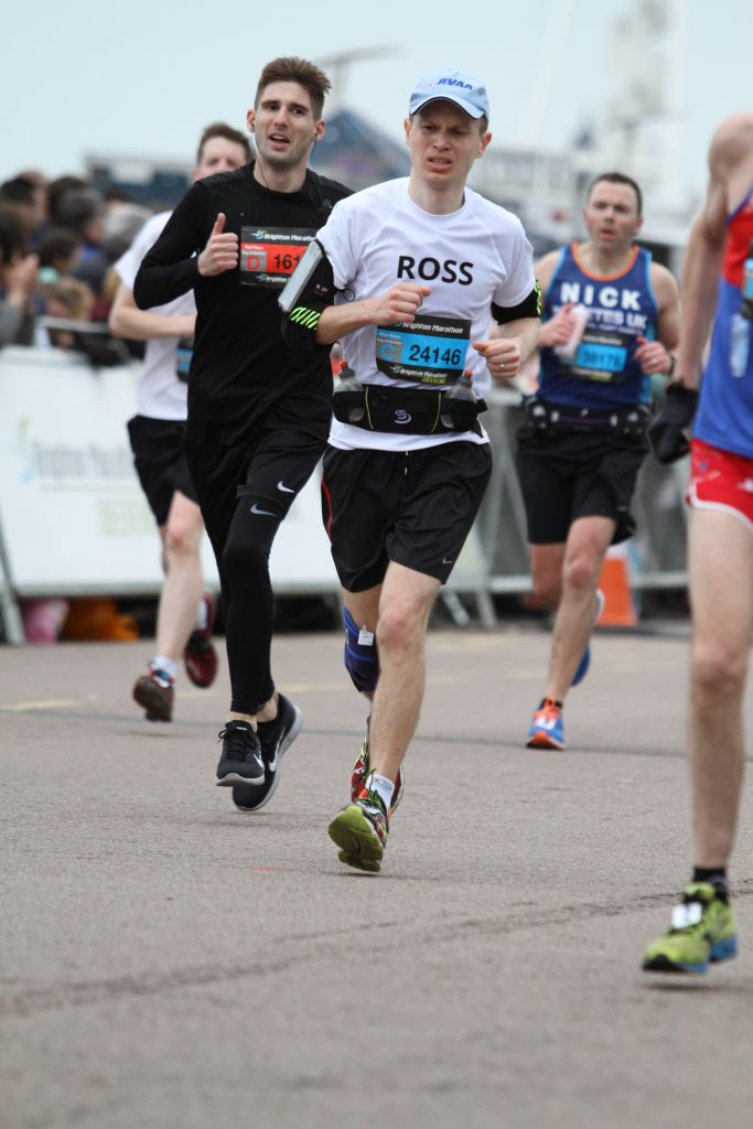 Ross digging deep and pushing hard at the 2018 Brighton Marathon